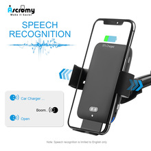 Ascromy Car Wireless Charger Holder For Samsung Huawei 15W Fast Charging Auto Clamping Car Mount Voice control Infrared Sensor