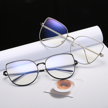 Oversize Women Metal Cat Eye Glasses Frame Brand Designer Fashion Men Clear Lens Eyeglasses eyewear glasses frame for women
