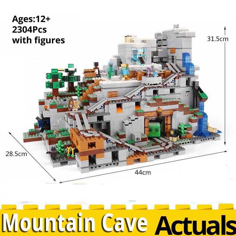 Minecrafted a caverna de montanha brinquedos 2304 pçs compatível legoinglys meus mundos 21137 empilhamento bloco modelo kit blocos tijolos