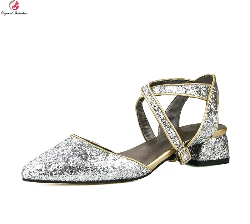 Original Intention Super Stylish Women Sandals Ankle Strap Pointed Toe Square Heels Nice Silver Shoes Woman Plus US Size 3-10.5 usage intention framework