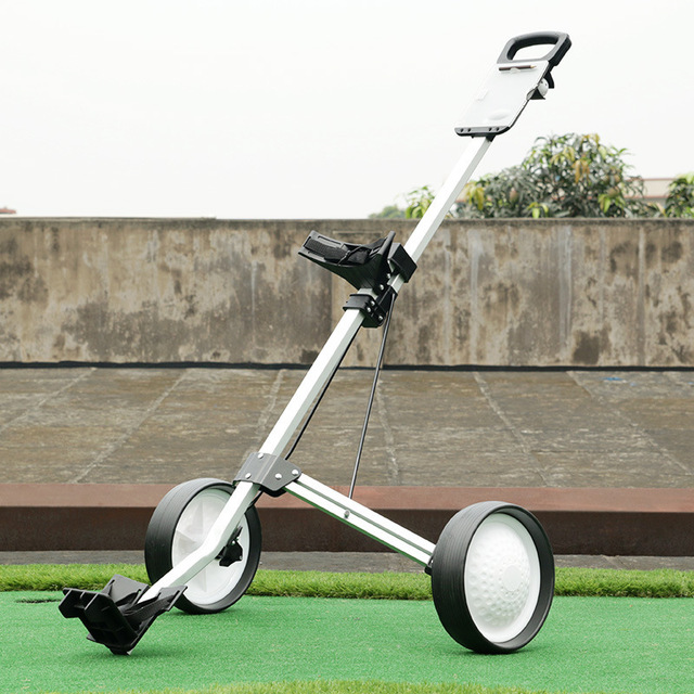 Brand PGM Golf Bag Club Quick Easily Fold Wheel Cart Trolley Easy Folding Portable Sturdy Durable Two Round Foldable Hand Push