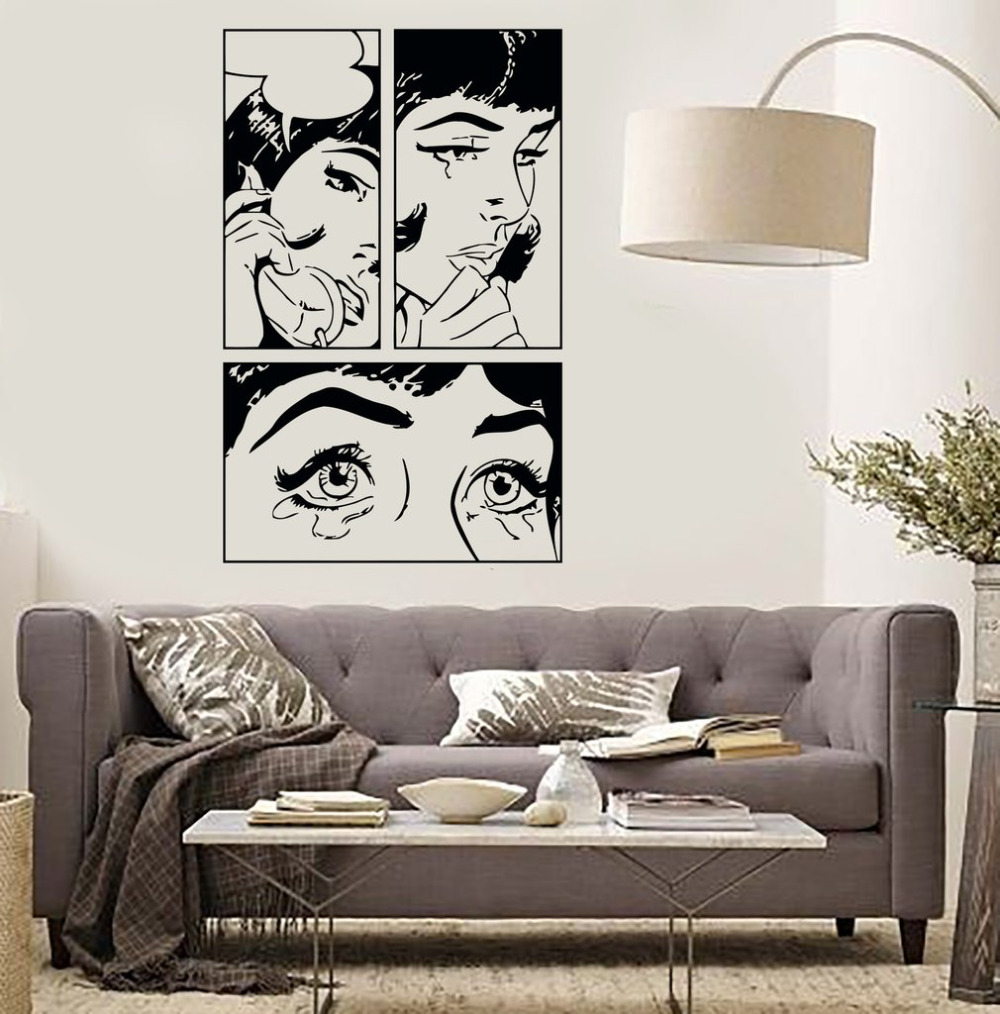 Cartoon girl vinyl wall stickers sexy girl woman teen for Pop wall art