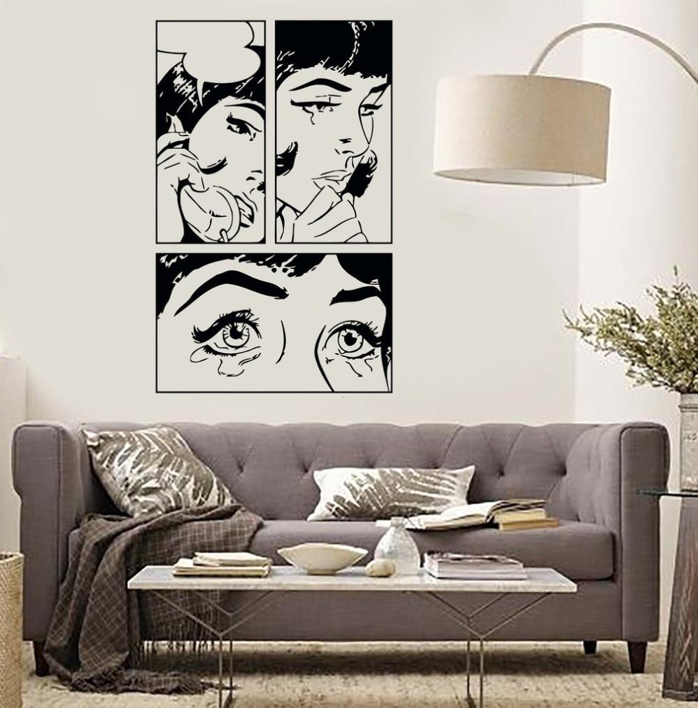Papier Peint Chambre Fille Ado dessin animé fille vinyle stickers muraux sexy fille femme adolescent  pleurer cool pop art chambre sticker mural design personnalité papier peint
