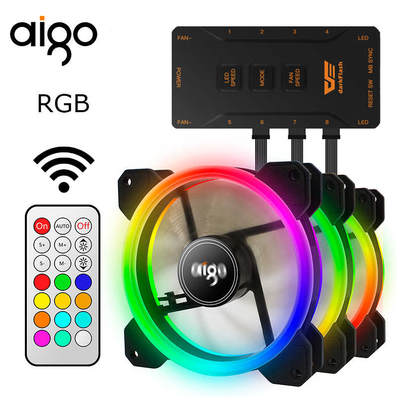 AIGO DR12 PC RGB case fan IR remote double RGB ring cooling  120mm controller wireless changeable color adjustable color
