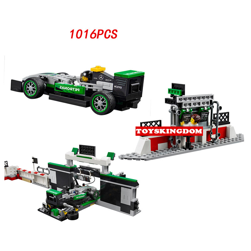 New Racing champion AMG Petronas formula one team building block F1 racer mechanist figures bricks 75883 toys for boys gifts gti champion racer