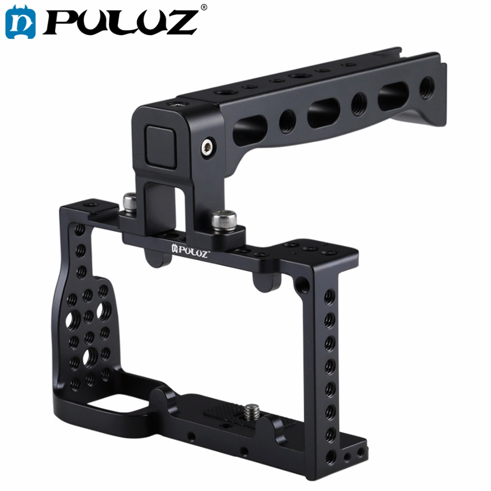 PULUZ Aluminum Alloy Video Camera Cage Handle Protector Stabilizer Video Film Movie Making steadycam for Sony A6300 / A6000 цена и фото