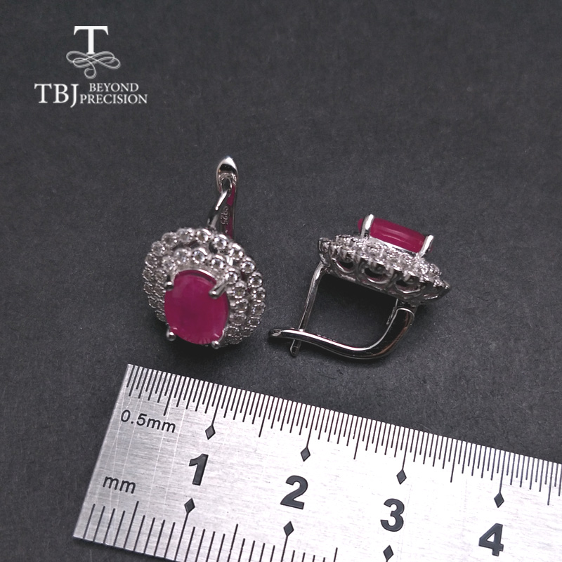 TBJ,Classic diana clasp earring with natural africa ruby  precious gemstone 925 sterling silver jewelry for women lady nice gift