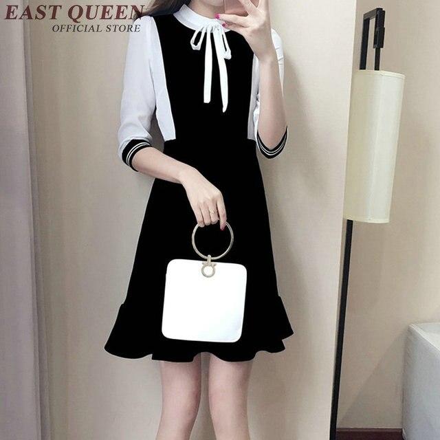 official photos 0c60b f02b6 Abito nero con colletto bianco ufficio affari femminile ladise shool abito  vestito sociale KK511