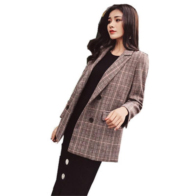New Plaid Blazers Women Small Suit Female Jacket Spring And Autumn New Long-sleeved Slim Casual Retro Plaid Woolen Suit Women