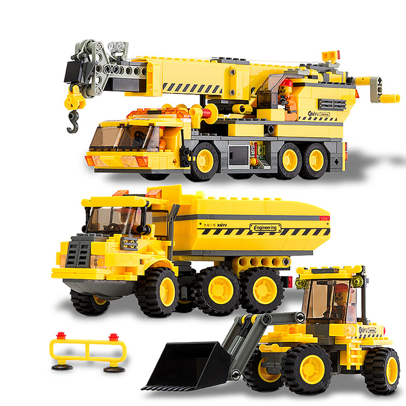 3 cars/lot Children educational toys City cars crane Truck DIY Building block sets Compatible with legoe Christmas gift superwit 72pcs big size city diy creative building blocks brick compatible with duplo sets lepin educational toys children gifts