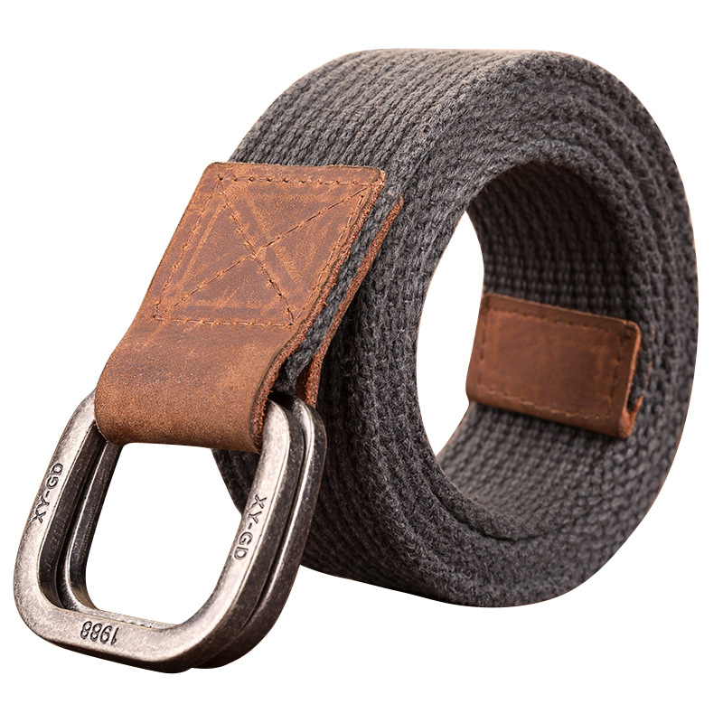 Unisex Canvas   Belt   2019 Hot Men Designer   Belt   Trap Double-ring Buckle Male Casual Solid Knitted Jean   Belts   Dropshiping 110-130cm