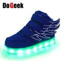 DoGeek Nova Moda Asas de Anjo Crianças Série LED Crianças Luminosas Sapatos Casuais Meninos e Meninas Luz Recarregável de Alta-top Sneaker