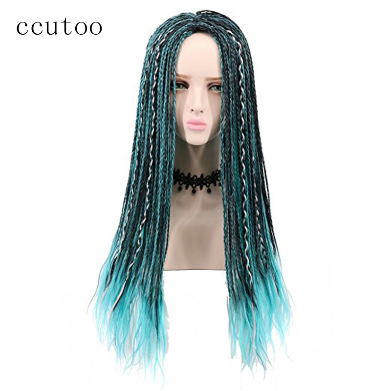 Ccutoo 3 Tones Blue Grey Mix Black Uma Braids Long Straight Braided Descendants Synthetic Cosplay Wig For Halloween Party Wig