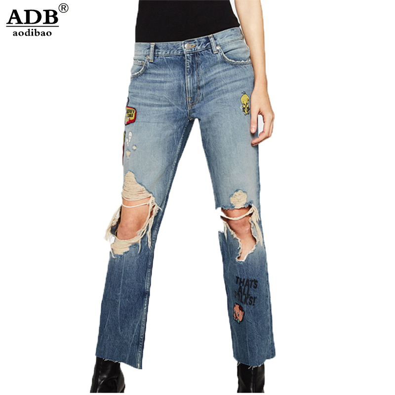 Aodibao 2017 Spring Summer Newest Fashion Breasted High Waist Jeans Women Elasticity Skinny Tied Rope Feet