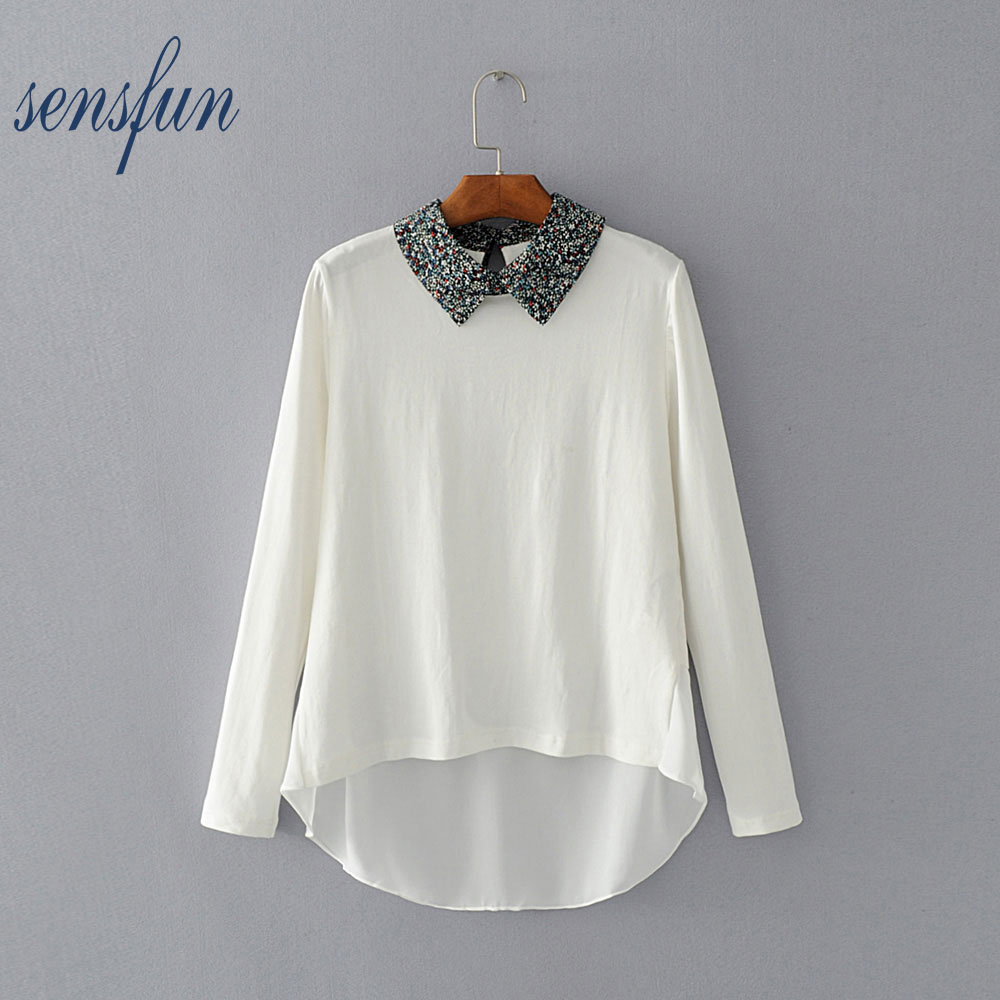 Sensfun Women's Blouses Ladies Office Turn-down Collar Long Sleeve Solid Body Shirts Women Tops Blusas Knitted Casual Shirts