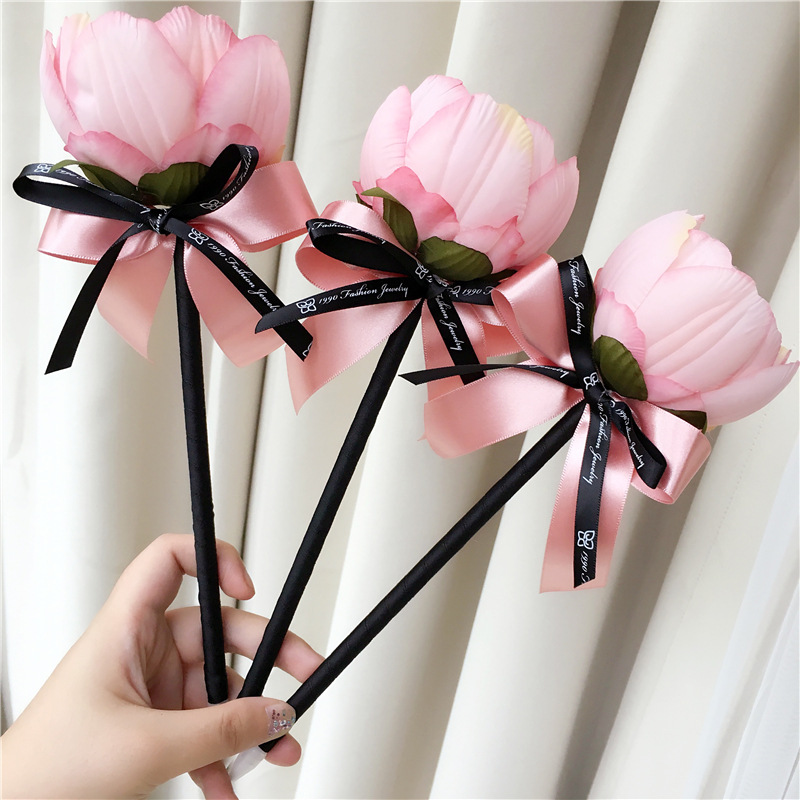 Coloffice 1PC Creative Coloful Flower Bow Bonny Ballpoint Pen Fresh Long Stick Sign Pen For Wedding /Gift pens papelaria escolar