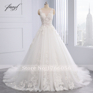 Image 3 - Fmogl Elegant Flowers Lace Princess Wedding Dress 2020 Appliques Beaded Vintage Bride dresses Vestido De Noiva Plus Size