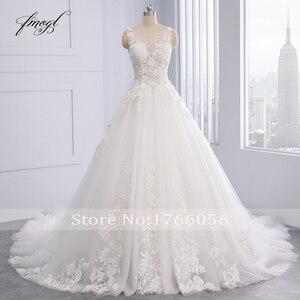 Image 3 - Fmogl Họa Tiết Hoa Sang Trọng Phối Ren Váy Cưới Công Chúa 2020 Appliques Đính Hạt Vintage Cô Dâu Váy Đầm Vestido De Noiva Plus Kích Thước