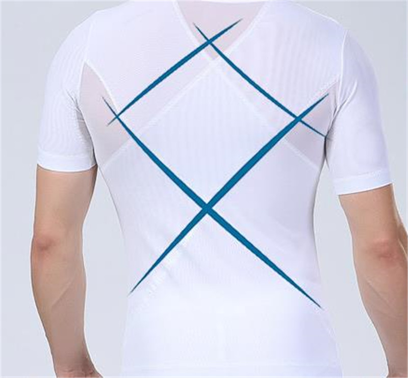 Image 5 - Men Gynecomastia Corsets Slimming Boobs Body Shaper Compression T shirt Abdomen Control Big Belly Reducer Posture Corrector Tees-in Shapers from Underwear & Sleepwears