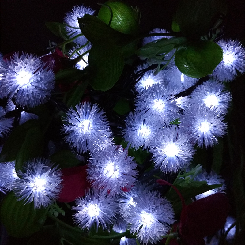 Solar Christmas Holiday Snow Flakes LED String Lights DIY Winter Snowball Outdoor...