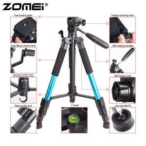 Image 3 - Zomei bleu Q111 trépied léger professionnel Portable support dappareil photo de voyage avec tête panoramique sac de transport pour appareil photo numérique reflex numérique
