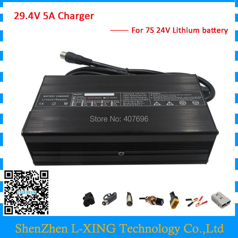 Free shipping 180W 29.4V 5A 24V 5A lithium charger for 24Volt 7S 24V 20AH 30AH 40AH 50AH 60AH Electric Bike Battery free taxes 24volt lithium ion battery 24v 20ah electric bicycle kit 24v e bike battery with bms and charger for panasonic cell
