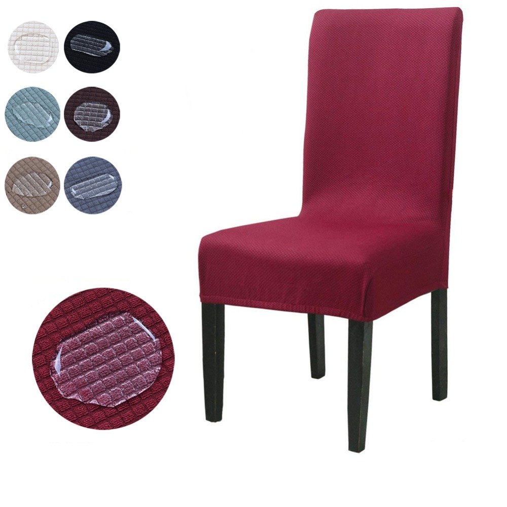 Deep Pile Velvet Chair Furniture Cover Non-Skid Waterproof Chair Cover Burgundy