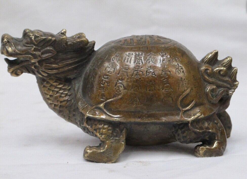"""5.5 """"الصينية فنغ شوي حسن الحظ البرونزية التنين السلاحف تمثال السلحفاة-في تماثيل ومنحوتات من المنزل والحديقة على title="""