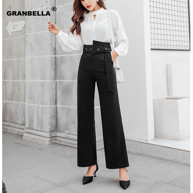 2019 Work wear Formal Black Suit   Pants   With Belt High Waist Pantalon Costume Trousers Slim   Wide     Leg     Pants   For Business Women