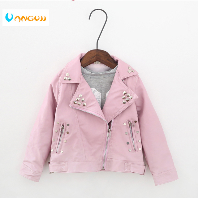 בנות אביב סתיו מעיל 2 7 שנים אופנה PU מעיל דש מעיל מתכת מסמרות אופנוע עור חגורת ילדים מעילים