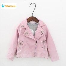 Chaqueta de otoño primavera 2 7 años de Moda Antigua chaqueta de PU con solapa y remaches de Metal con cinturón de cuero para motocicleta chaquetas para niños