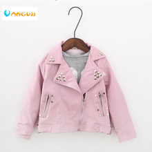 girls spring autumn jacket  2 7 years old fashion PU jacket lapel coat Metal rivets motorcycle leather belt kids jackets