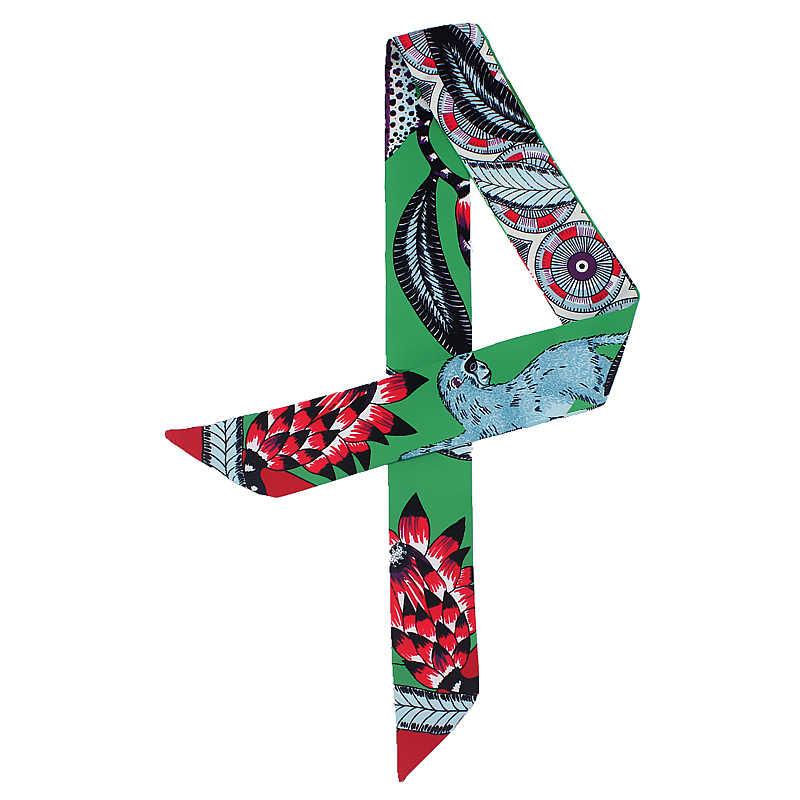Femmes soie cou écharpe impression sac ruban écharpes pour dames cheveux bande cravate femme main foulards mode 2019