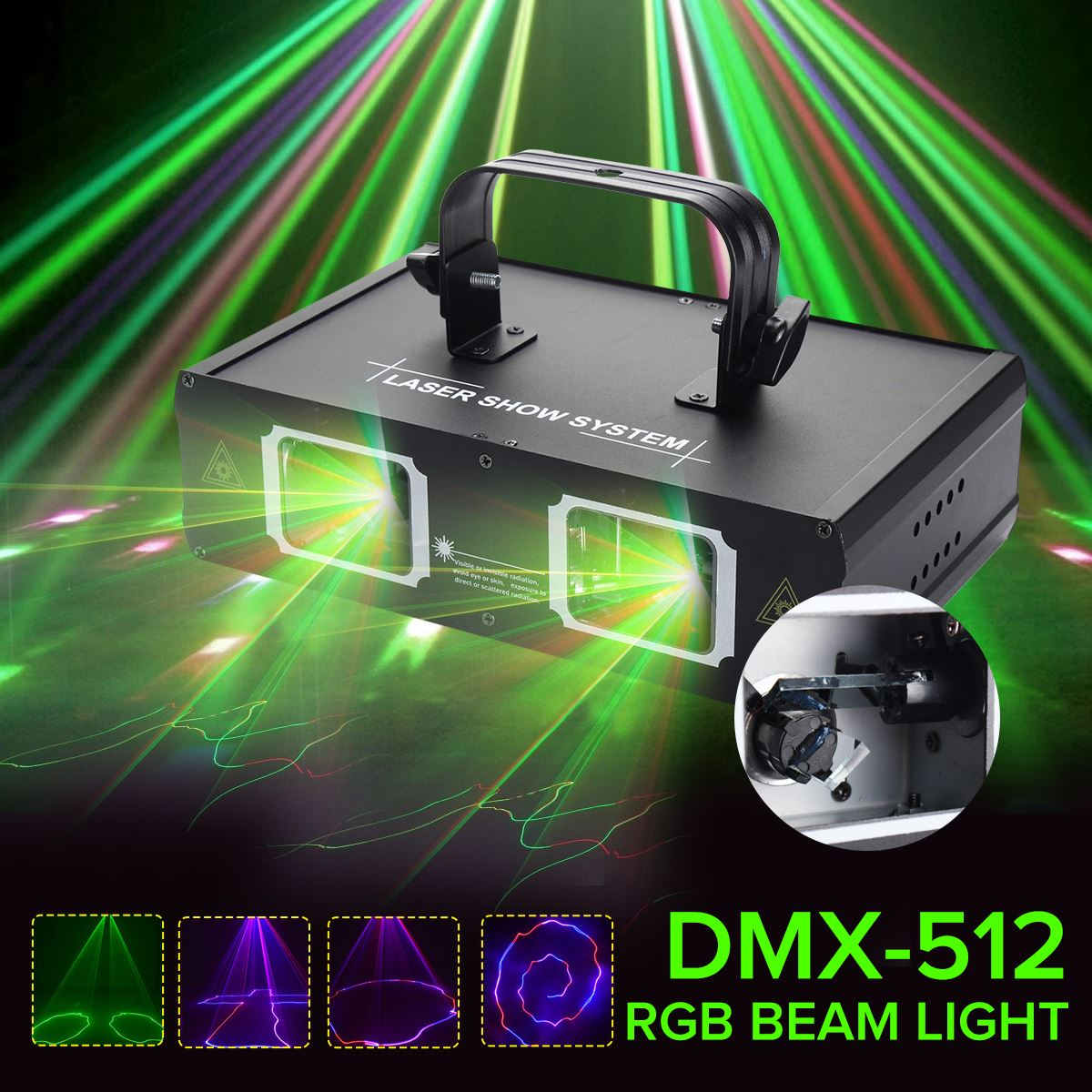 Claite DMX-512 LED Stage Light Lamp Disco Laser Lighting With US Plug Indoor Decoration For KTV Pub Party Club DMX Lumiere Laser 8in1 roadcase pack 12x18w waterproof outdoor led stage light 6 in 1 par dmx 512 lighting laser projector party club pub ktv dj