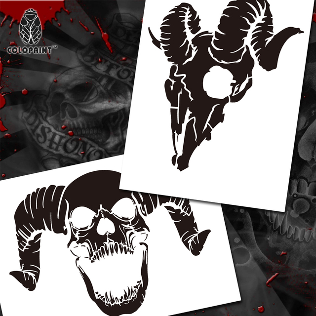 Colopaint Airbrush Templates Stencil BPS 002 Animal Skull Pile - airbrush templates
