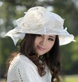 Women Ladies Organza Hat Derby Church Wedding Beach Cocktail Evening Party Summer Sun Cap Vintage Dress Fedora Wide Brim Hat New
