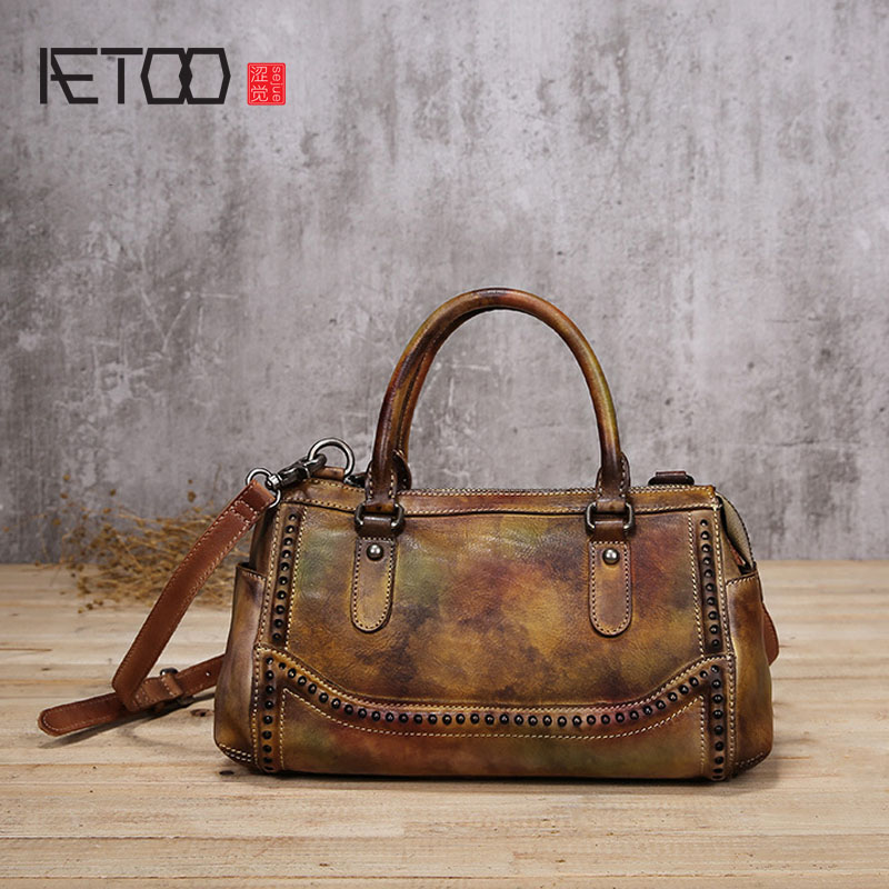 AETOO Retro handbag 2017 new original shoulder bag personalized trend of the first layer of leather oblique cross package polo new golf clothing bag lady hold all shoulder bag waterproof travel handbag bag sport package nylon first layer of leather