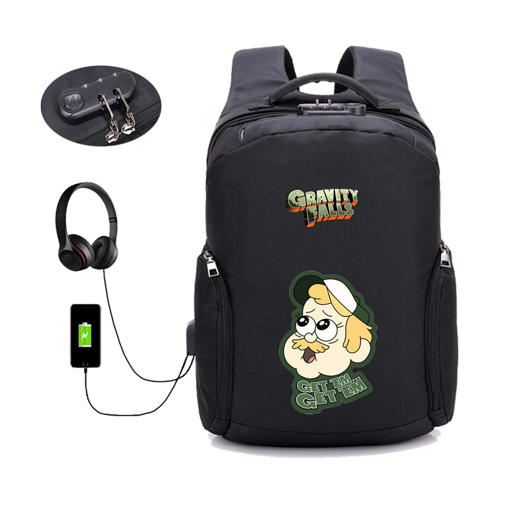 Game anime Gravity Falls backpack student book bag School Bags USB password lock bag men women travel Laptop Bag in Backpacks from Luggage Bags