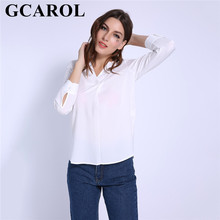 GCAROL 2018 Euro Style Women V-Neck Chiffon Shirt OL Office Lady Blouse  White Elegant Neat Tops For 4 Season