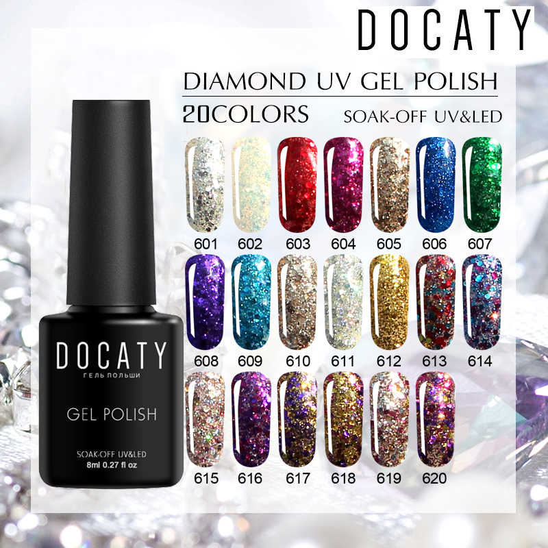 Docaty 2019 Diamond Nail Gel Vernissen Glitter LED UV Gel Polish Glanzende Pailletten Gel Nagellak Vernis Semi Permanente GelLak