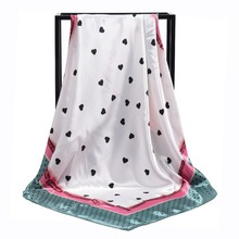 New Arrival Fashion Women soft satin brand scarf / dots and little heart Printed quare silk scarves 90cm Gifts Wholesale