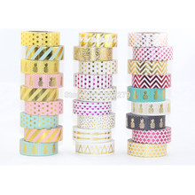 New 10X gold foil masking Tape For Christmas Card Decorative gold Paper washi Tape 10 rolls цена и фото
