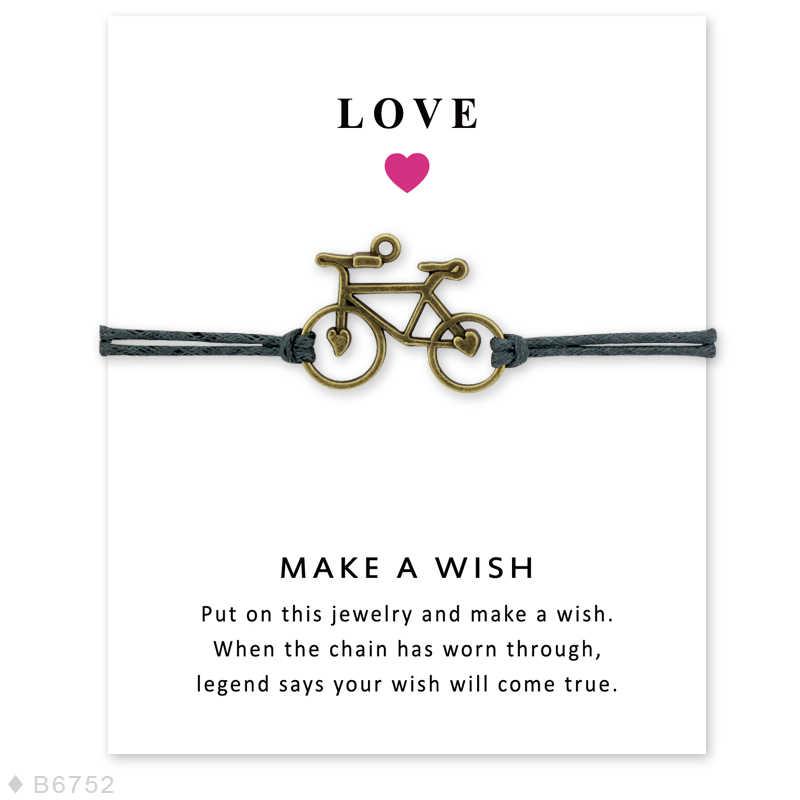 Hot البيع للجنسين الصداقة بيان جعل الرغبة الفضة النحاس لايف لركوب الدراجات سائقي الدراجات دراجة سحر رجالي أساور للنساء