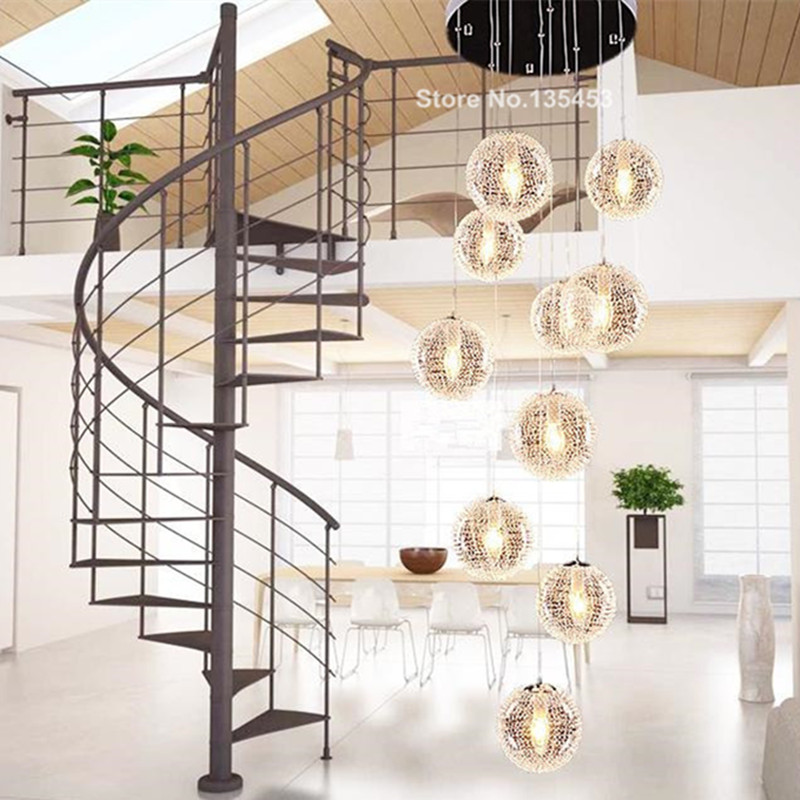 Lighting Basement Washroom Stairs: Modern Chandeliers Lustre Stair Long Globe Glass Ceiling