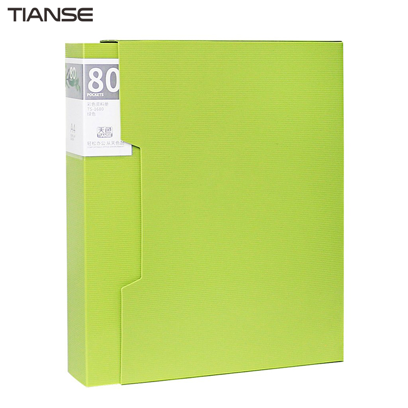 TIANSE TS-1680 Large Capacity 80 Pages PP File Folder Document Folder Data Book Folder For A4 Paper Office Supplies guangbo a4 file folder pp exam lever arch for business documents paper data book clip filing folder clipboard office accessories