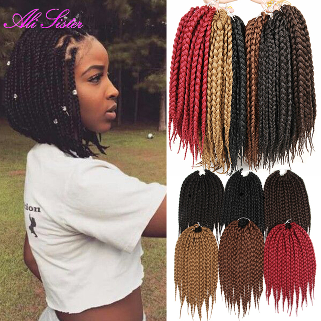 3X short Box twist hair synthetic braiding hair box braid extensions ...