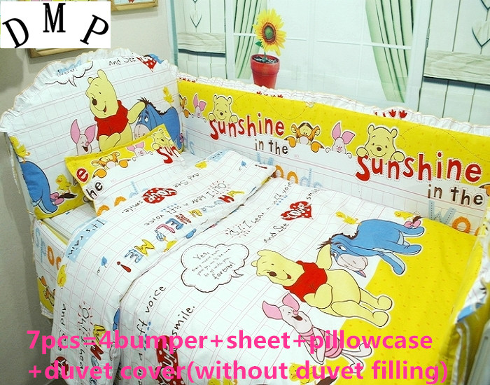 Discount! 6/7pcs Baby Cot set bedding crib for baby sheets Comforter Quilt Cover baby bumper120*60/120*70cm