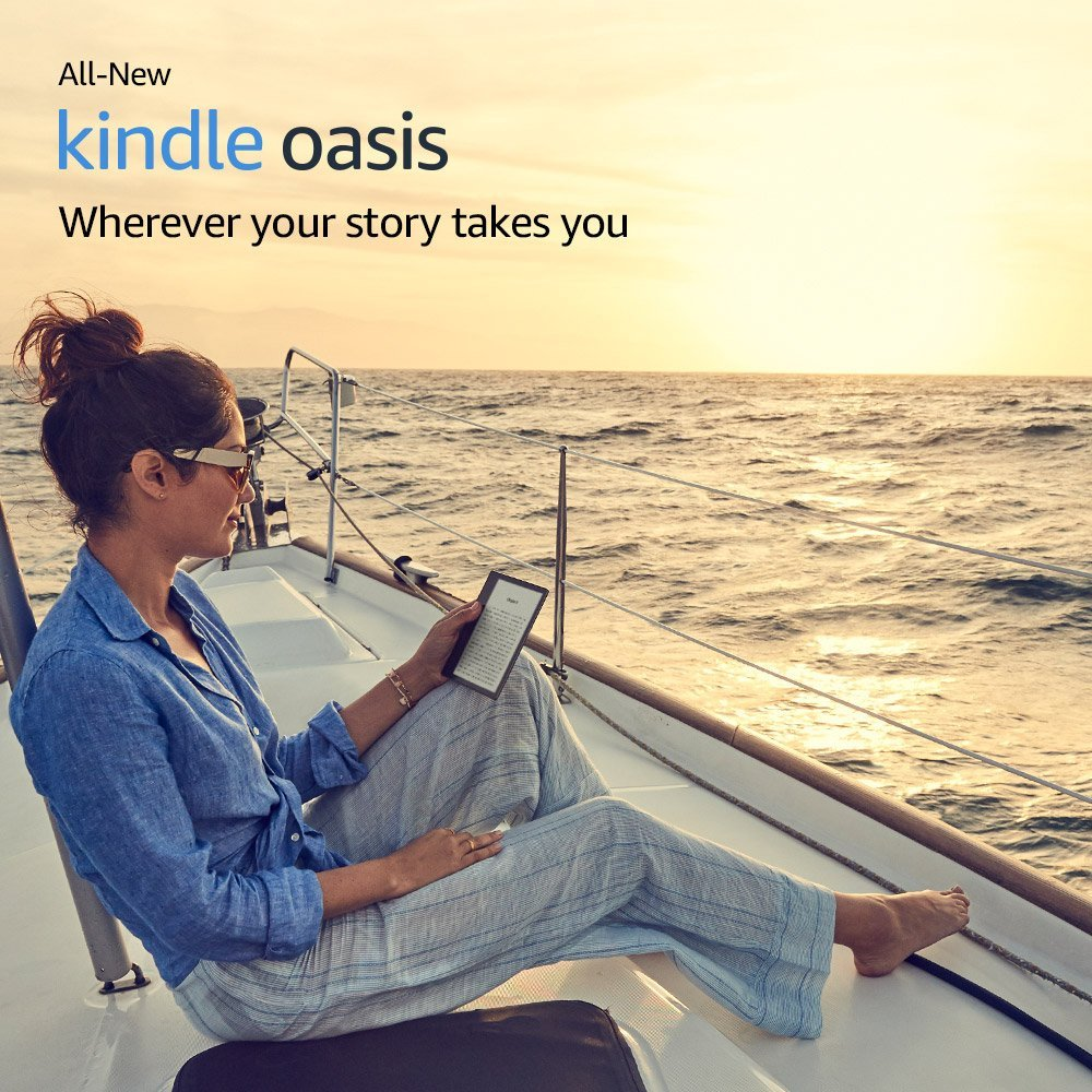 """All-New <font><b>Kindle</b></font> Oasis 32GB, E-reader - 7"""" High-Resolution Display (300 ppi), Waterproof, Built-In Audible, Wi-Fi"""