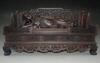 Изысканный китайский гигант ручной резьбой палисандр драгоценные спящего Будды