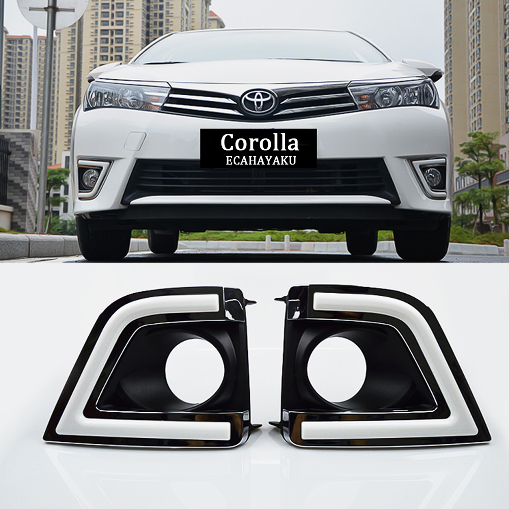 ECAHAYAKU 1set Car Styling LED DRL Fog Lamp White Day Running Light For Toyota Corolla 2014 2015 2016 LED Daytime Running Light car styling led daytime running light for toyota fortuner drl 2016 2017 elantra led drl fog light cover front lamp auto parts